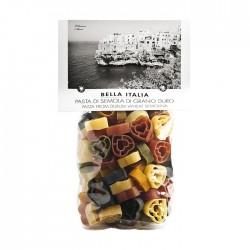 Bella Italia kietųjų kviečių įvairiaspalviai makaronai cuori (širdelės), 250 gr