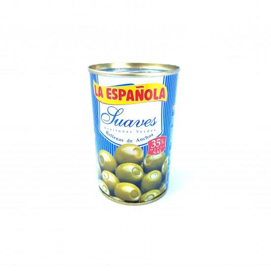 Alyvuogės žaliosios manzanilla rūšies įdarytos ančiuviais su mažiau druskos La Espanola