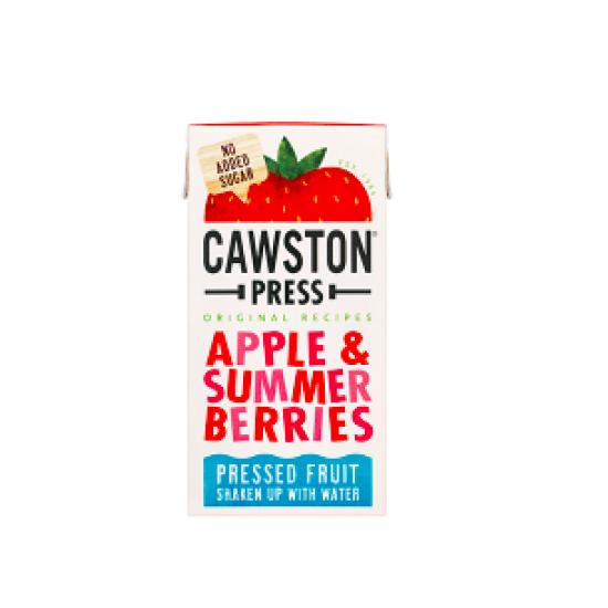 Obuolių ir vasaros uogų sultys be pridėto cukraus maišytos  su šaltinio vandeniu Cawston Press, 200 ml